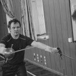 Тренировка в зале СПбФК. Фехтмейстер Руслан Каприлов, руководитель клуба европейского исторического фехтования
