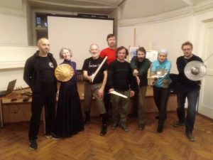 Workshop by Jean-Pascal Esparceil «Sword and buckler from manuscript I.33» in the Saint Petersburg Swordsmanship Club. Photo: Marina Chibisova