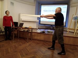 HEMA Days 2019. Workshop by Jean-Pascal Esparceil in the Saint Petersburg Swordsmanship Club. Conference interpreter from English - Alena Morgun. Photo: Marina Chibisova