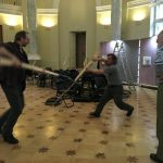 J.P.Esparceil and swordsmen from SPbSC. Rehearsal before the opening of the St. Petersburg HEMA days,31.04.19