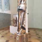 Колибаба Леонид Из серии «Святые мученики воины и князья». 2018 Клён, постамент — сосна. 147х29х30