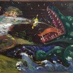 Тихомиров Виктор Автопортрет в красных штанах. 2019 Меб.фанера, м. 43х80