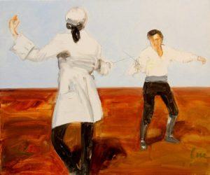 Владимир Шинкарев Неравный бой (Скарамуш) 2008 46х55, xолст, масло