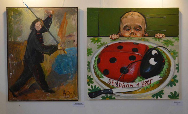 (Слева) Заславский Анатолий «Рита Иванова с китайским мечом»; Муравьева Екатерина «Торт»