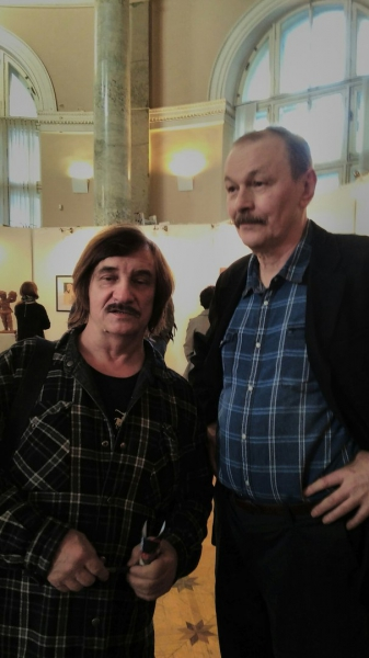 Виктор Тихомиров и Владимир Шинкарев на открытии Дней Фехтовальной культуры 2016 и вернисаж выставки
