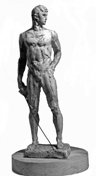 Малушина Тамара. Фехтовальщик-спортсмен.1978. Гипс тонир. 35х10х10