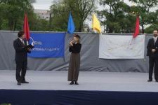 Алина Тулякова, председатель СПбФК, открывает День Фехтовальщика