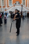 49. Андрей Нечаев демонстрирует владение безопасной имитацией холодного оружия