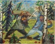Тихомиров Виктор «Дуэль», 2013. Картон,м. 38х74