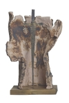 Мельников Александр «Раненный воин», 2013. Шамот, металл, дерево, 36х22х16