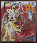 Котельников Олег «Бойня»№2, 1983. Картон, м., 109х113