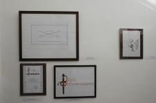 Графические работы. Справа: Жан Леонар Хлобыстин Гоплит. бум.,цв.чернила