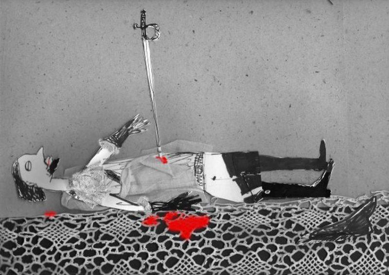 Васильева Ирина «За кардинала!!!», 40х50,смеш.техн. 2009.