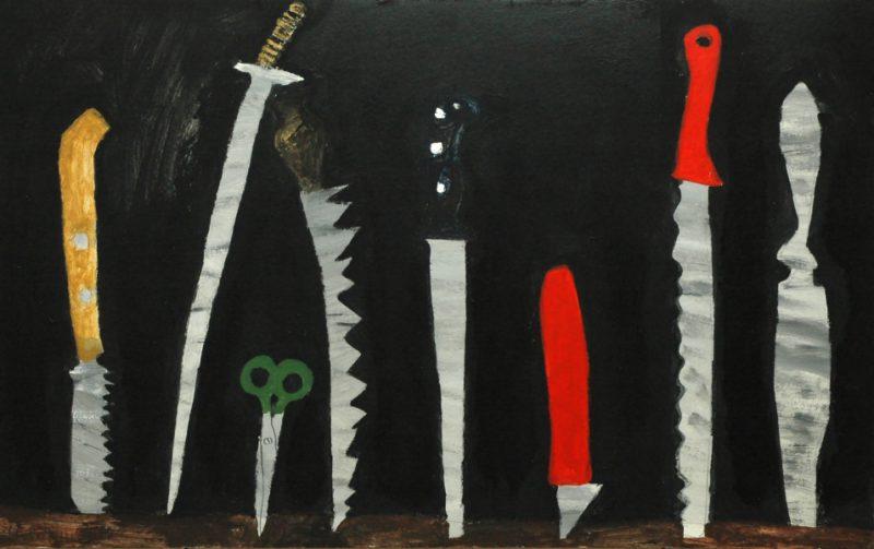 Сотников Иван «Ножики», 2011. К.,акрил. 50х79