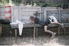 Рисует Сева Конрадт. СПбФК - Фехтование на пленэре. Фото: Дмитрий Конрадт