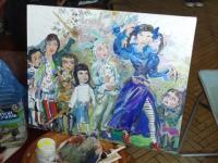 Все персонажи на картине имеют портретное сходство:со шпагой - Алина, с собачкой на руках - автопортрет Лизы и все друзья себя узнали.