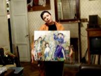 Зайцева Лиза со своей картиной Недетские игры, но которой есть автопортрет и портреты ее друзей